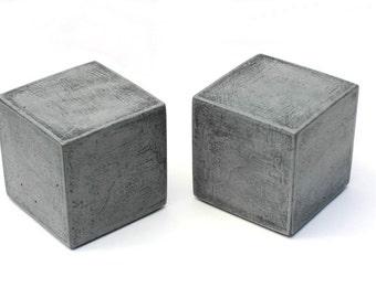 Modern Concrete Bookends -  Cube