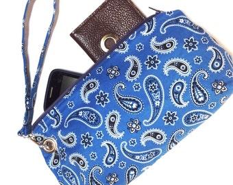 Clutch, Wristlet, Detachable Strap, Blue Paisley Pattern, Ready To Ship