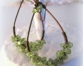 Peridot Gemstone Earrings Wire Wrap Cluster Earrings Handmade Metal Work Jewelry - Hosta