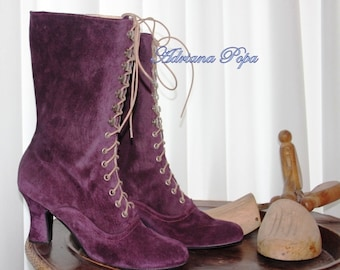 Amethyst Victorian Boots Purple Victorian Boots Edwardian boots Stage boots Customized boots Boots by order