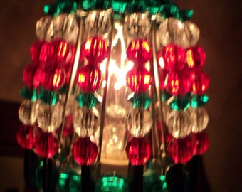 Night Light Shade, Beaded, Christmas, Home Decor, Holiday Decor, Christmas Decor, Red, Clear, Green, Night Light , Shade, Holiday, Festive
