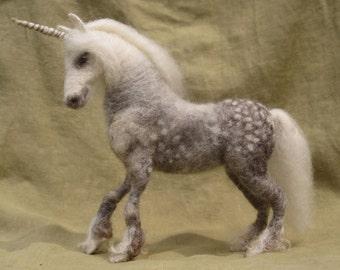Needle felted unicorn, dapple gray pony or any coloring you choose