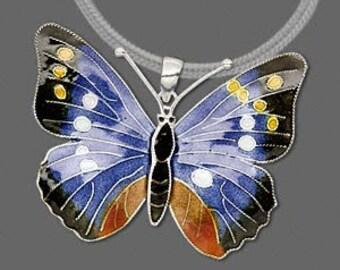 Butterfly Pendant Cloisonne Sterling Silver Charm Multicolor Drop 3D Enameled 45x35mm