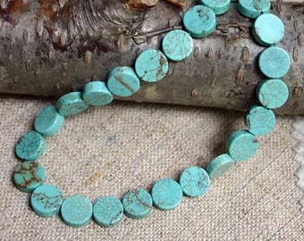 40pcs  Natural Gemstone Beads 9-10mm Blue Teal Magnesite Flat Round Coin 15 Inches Strand