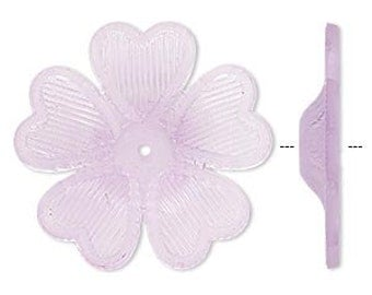 25pcs Frosted Lucite Flower Light Purple Beads Acrylic 42x7mm Iced