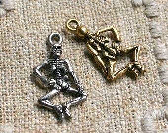 Halloween Skeleton Charm Antiqued Pewter Fall Holiday 25x14mm Double-sided