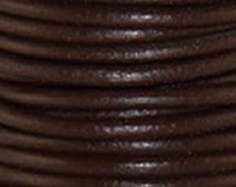 2mm Leather Cord - Red Brown - 6 Feet Premium Quality Round Cording