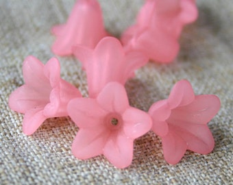 100pcs Trumpet Lily Frosted Lucite Flower Pink Beads Acrylic 17x12mm Iced For Lucite Flowers Earrings