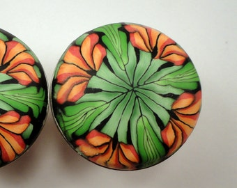 Cabinet Knobs Pulls 6  green salmon orange  Polymer Clay over METAL unique handmade furniture knobs dresser drawer knobs