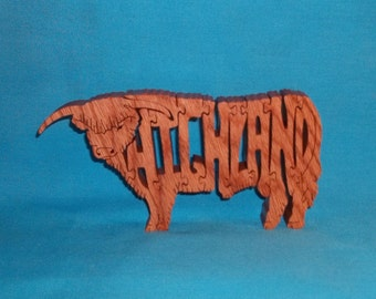 Highland Bull Scroll Saw Wooden Puzzle
