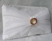 White silk clutch purse tulle trim rhinestone pin evening bag bride's purse wedding prom purse