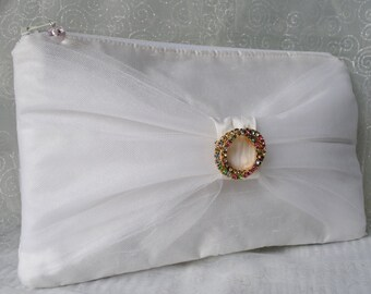 White silk clutch purse/ bridal purse/ wedding bag/ evening bag/ prom purse / special occasion purse/ bowtie / tulle trim/rhinestone pin /
