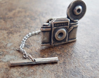 Old Time Camera Men's Tie Tack in Antiqued Silver By Enchanted Lockets