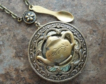 NEW Tea Party Locket in Brass, Teapot and Spoon Locket-EXCLUSIVE DESIGN