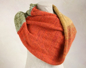 Chunky warm knit throw, cotton mohair silk knit wrap to slip over your shoulders on the couch, terrace, hammock - Terracotta Sun