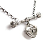 antique heart charm and fancy T-bar on sterling chain assemblage necklace