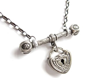Lock Heart and Fancy T-Bar — sterling assemblage necklace