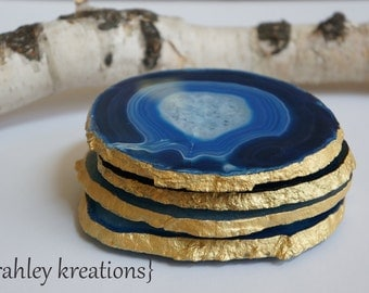 AGATE Coasters XLARGE 4pc Royal Cobalt Sky Blue Crystal Geode Slices Gold Silver Copper Edges Wedding Anniversary Birthday Home Decor Gift