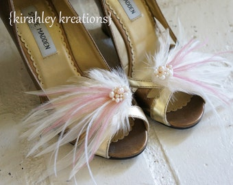 Ivory Mauve Dusty Pink Pearl Hand Beaded Clusters Romantic MARY LOU Vintage Inspired Bridal Bride Custom Feather Wedding Shoes Shoe Clips
