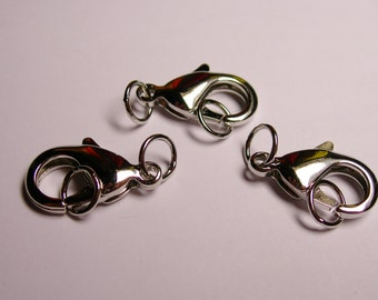 5 pcs - silver  - Lobster Clasps 22 mm hypoallergenic - nickel free- lead free - rings included - A22A