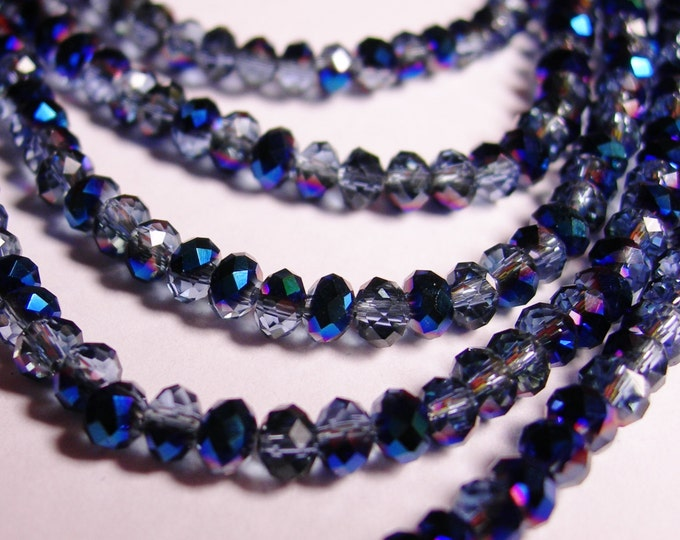 Crystal faceted rondelle - 100 pcs - full strand - 4 mm - A quality - sparkle blue sapphire - FCRM27