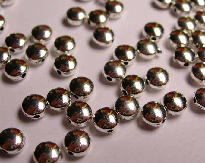 50 round puff  silver tone beads - 6mm round disc silver beads - 50 beads -   ASA31