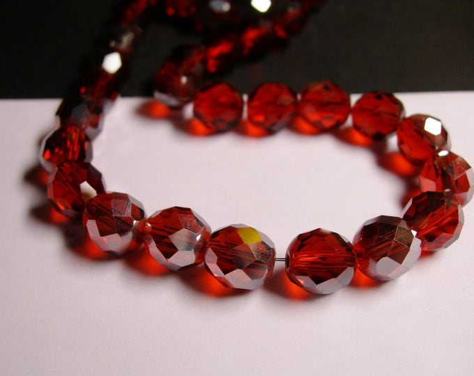 Crystal faceted rounded - 12 pcs -  10 mm - AA quality - dark gognac orange - Ab -  CFHBC3