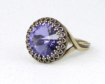 Lavender Purple Ring - Light Violet Tanzanite Antique Brass Ring with Swarovski Crystal - Vintage Style Purple Cocktail Ring