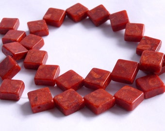 16mm Charm rhombus sponge coral beads -----red coral beads loose strands15inch