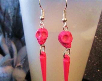 Pop Rock Skull and Spike dangle earrings in hot pink