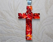 Sea Glass Cross Necklace with Red and Orange Tinies Solid Sterling Silver Ball Chain. FREE SHIP!