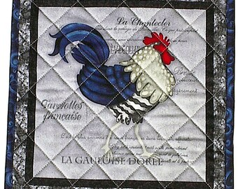 French Rooster Hot Pad, handmade quilted chicken blue potholder kitchen placemat a