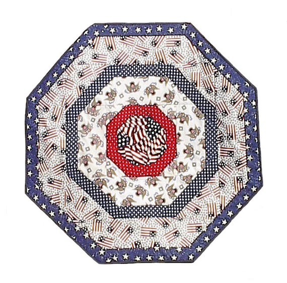 Patriotic USA Table Topper, American US handmade octagon quilted 36 x 36