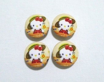 SALE - V07 Fabric Covered Buttons (20mm) - Set of 4 - Little Lady Kitty