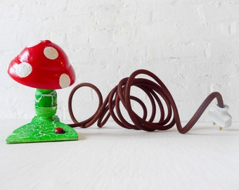 10% SALE - Alice's Mushroom Dream Night Light - Art Lighting - Vintage Lamp Clip - Brown Color Cord - Red With White Polka Dots - OOAK