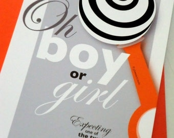 Funny Pregnancy Announcements Set of 12 - Oh boy or girl - Expecting one of the two