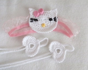 Kitty headband from newborn sizes-Head Band and Heart Barefoot Baby Sandals-Barefoot Sandals-Beach Anklet Yoga,Bridal Cuff Gypsy