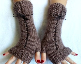 Gloves Fingerless Corset  Wrist Warmers in Brown  with Suede Ribbons Victorian Style
