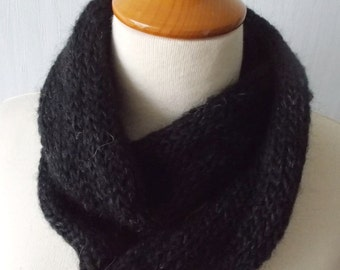 Knitted Infinity Tube Cowl  Scarf Circular In Black Mohair Super Warm SALE