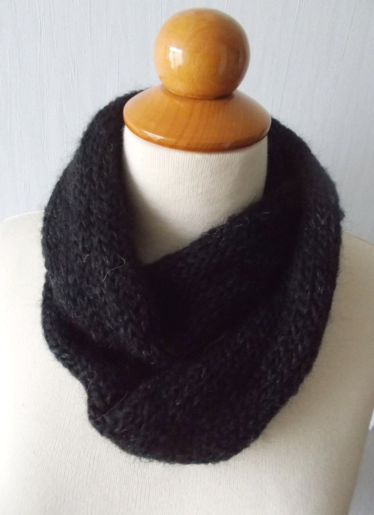 Infinity Scarf Knitting Pattern Mohair : Knitted Infinity Tube Cowl Scarf Circular In Black Mohair