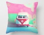 Dorm Room Decor Pillow Cover - VW Bus Dream - home decor, photo pillow, throw pillow