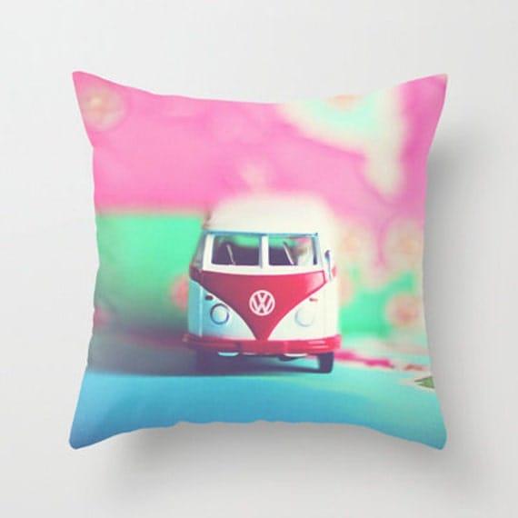 Decorative Pillows For Dorm Rooms : Dorm Room Decor Pillow Cover VW Bus Dream home decor