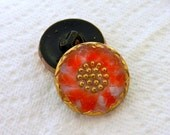 Czech Glass Button Peppermint Red White Gold 22mm Shank Sewing Clothing Apparel Garments Crafts