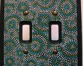 "Switch Plate One of a Kind Hand Painted Double Switch Light Switch Cover ""Shades of Blue"" Pointillism Art"