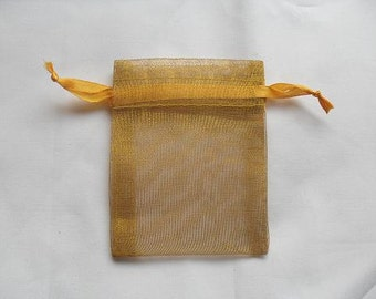 Gold Organza Bags / favor bags set of 50 bags 3 x 4inch Great for handmade soaps, herbs, tea, jewelry etc.