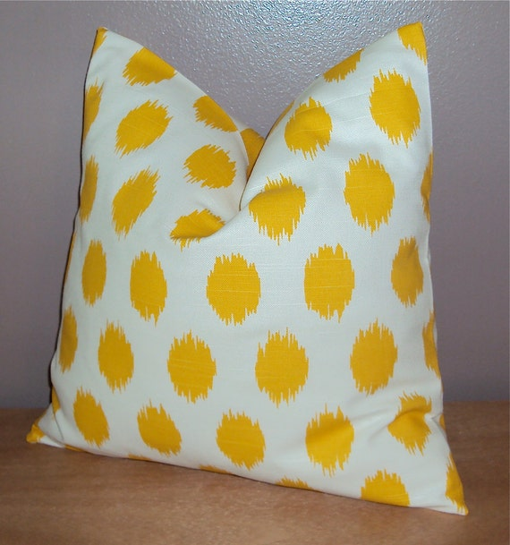Bright Yellow Decorative Pillows : Items similar to Bright Yellow Cotton Ikat Dot Decorative Pillow Cover - Available In 3 Sizes on ...
