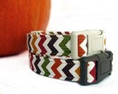 Fall Chevron Dog Collar in Harvest Gold Brown Cranberry Green