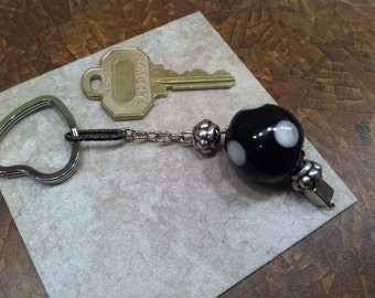 KEYCHAIN Unique GLASS Lampwork Black and White Ball Polka Dotted Jazz up your Keys*Young at Hear*Mother's Day*Graduation*Sweet 16