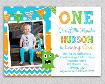 Boys 1st Birthday Invitation , Monster 1st Birthday Invitation , Monster Birthday Invitation