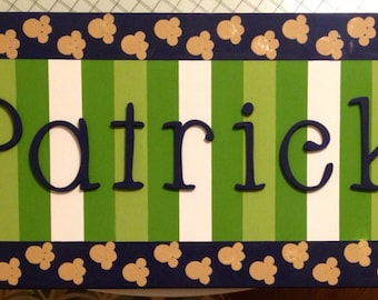"Kids Name on Canvas- Childs Name 12"" x 36"" made to order custom colors fonts etc"